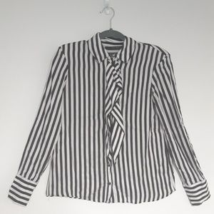 Zara Basic Black & White Striped Blouse w/pads